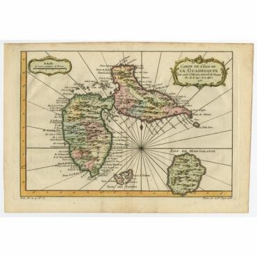 Carte de L'Isle de la Guadeloupe - Bellin (c.1757)