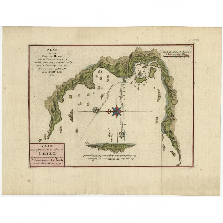 Antique Map of a Bay on the Coast of Chile by Anson (1749)