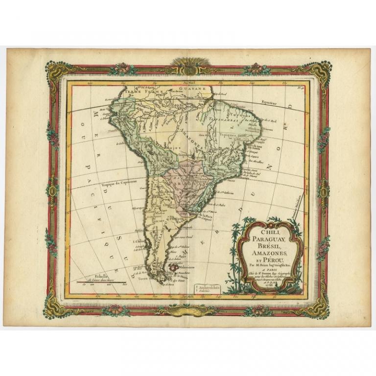 Antique Map of South America by Brion de la Tour (c.1766)