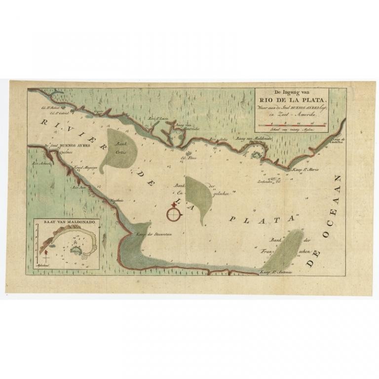 Antique Map of the Rio de la Plata Estuary by Tirion (c.1760)