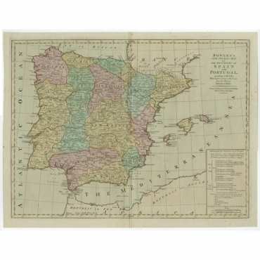 Bowles's New Pocket Map of the Kingdom of Spain and Portugal (..) - Bowles (c.1780)