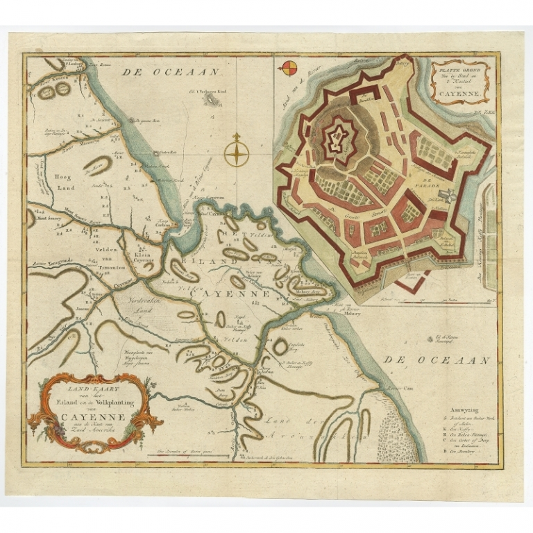Antique Map of Cayenne by Tirion (c.1760)