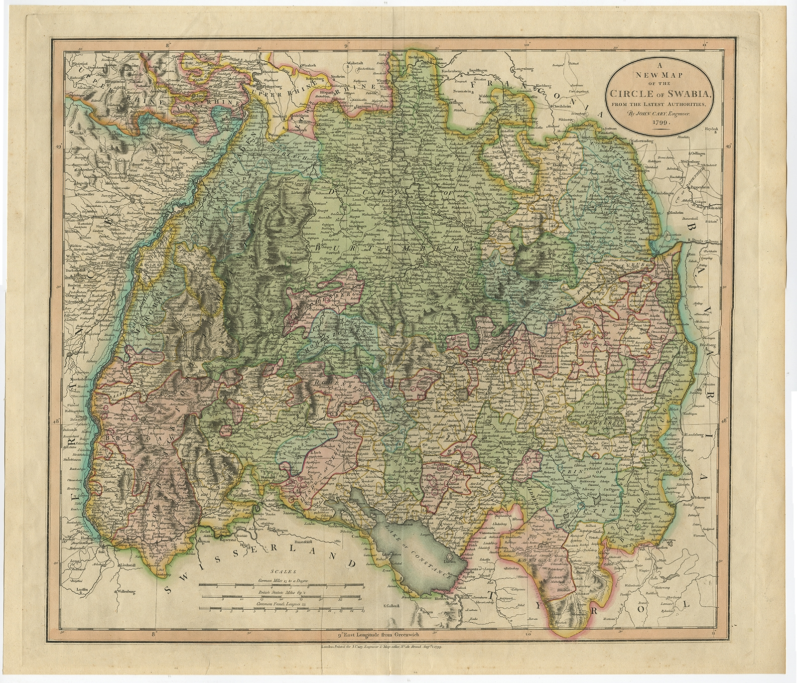 A New Map of the Circle of Swabia (..) - Cary (1799) Cary Map on