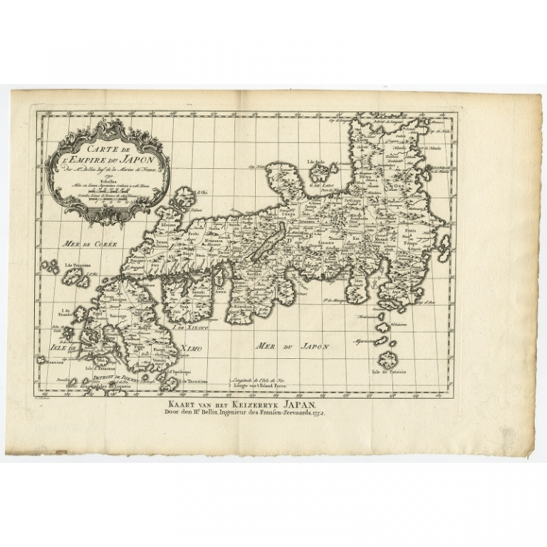 Antique Map of the Empire of Japan by Bellin (c.1752)