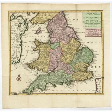 Nieuwe Kaart van 'T Zuider Gedeelte van Groot Britannie (..) - Tirion (c.1750)