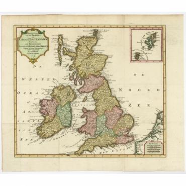 Nieuwe Kaart van de Eilanden van Groot Brittannien (..) - Tirion (c.1750)
