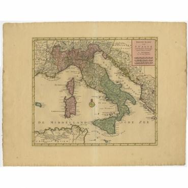 Nieuwe Kaart van Italie na de Nieuwste waarnemingen van de l'Isle en andere - Tirion (c.1740)