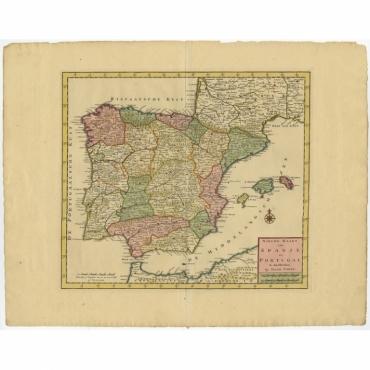 Nieuwe Kaart van Spanje en Portugal - Tirion (c.1740)