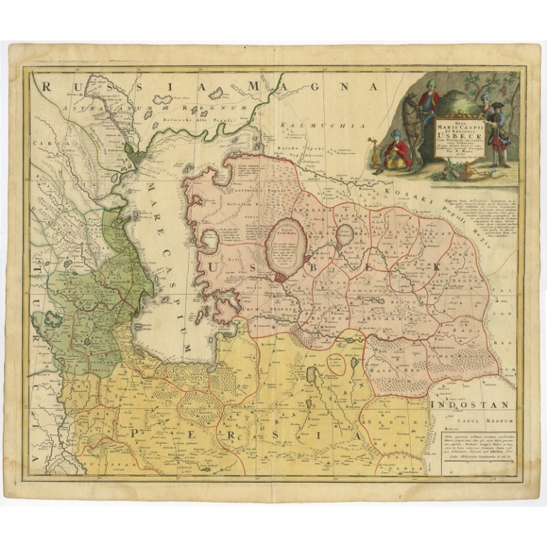 Antique Map of Central Asia by Homann Heirs (c.1735)