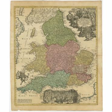 Magnae Britanniae pars Meridionalis in qua Regnum Angliae (..) - Homann Heirs (c.1720)