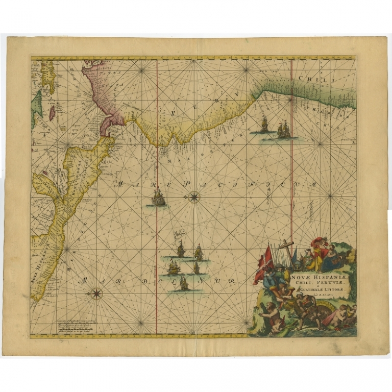Antique Sea Chart of Central and South America by Ottens (c.1745)