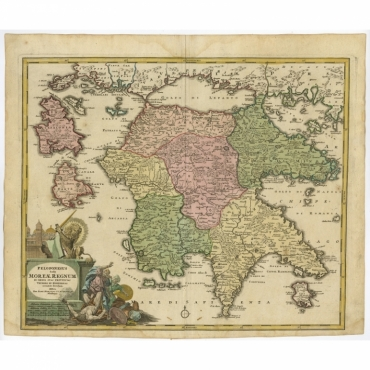 Peloponesus hodie Moreae (..) - Homann (c.1735)