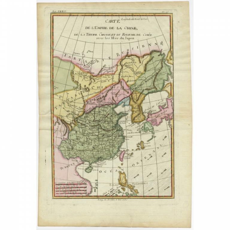 Antique Map of the Empire of China by Bonne (c.1780)