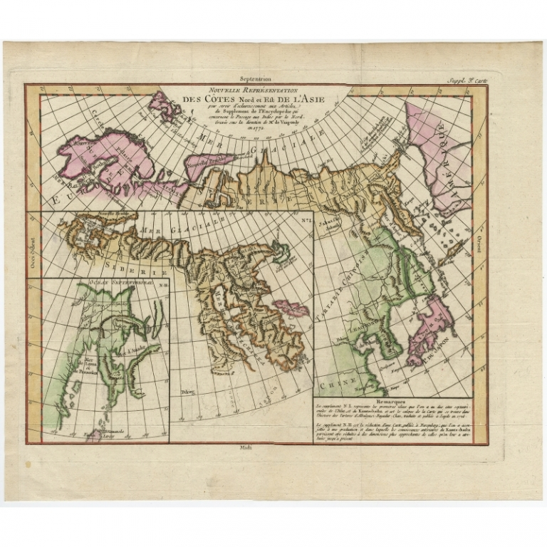 Antique Map of the North and East Coast of Asia by Vaugondy (c.1750)