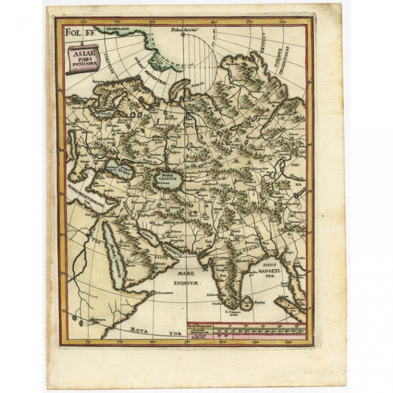 Antique Map of Central Asia by Scherer (c.1700)