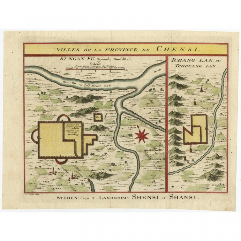 Antique Map of Cities in the Province of Shanxi by Van Schley (1749)