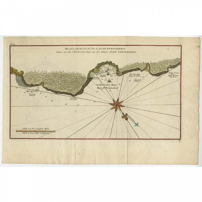Antique Map of Juan Fernandez Island by Anson (c.1750)