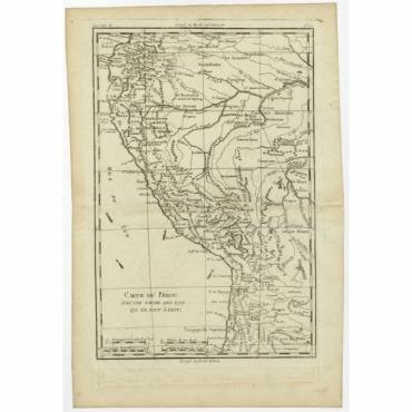 Carte du Perou avec une partie des pays (..) - Bonne (c.1780)