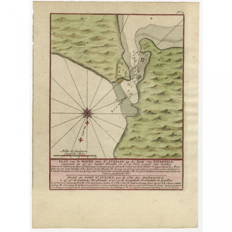 Antique Map of Puerto San Julian by Anson (1749)