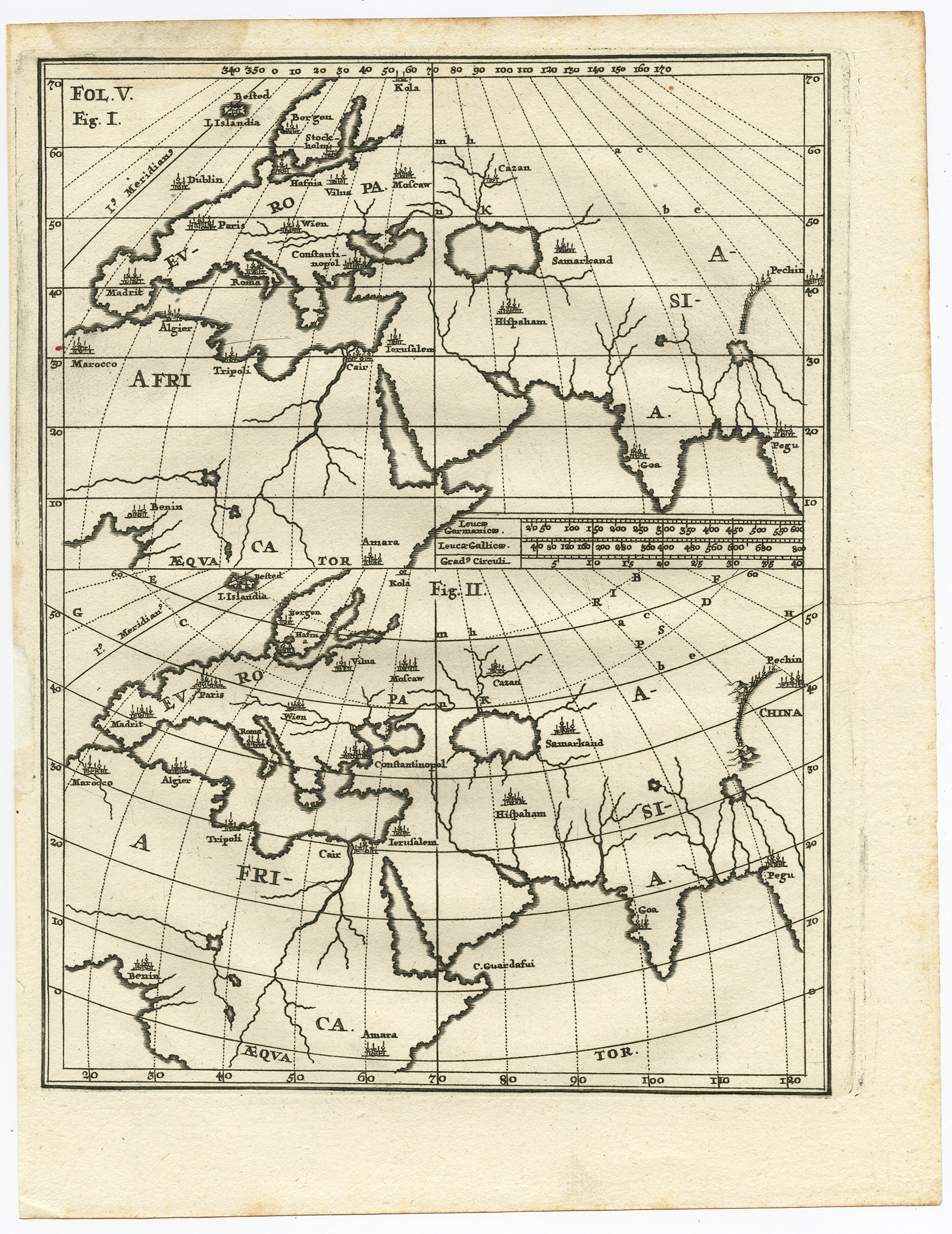 Map Of Africa 1700.Untitled Map Of Europe Asia Africa Scherer C 1700