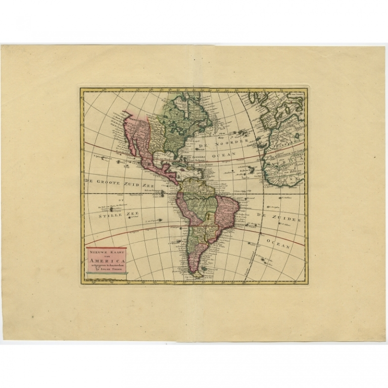 Antique Map of America by Tirion (1744)