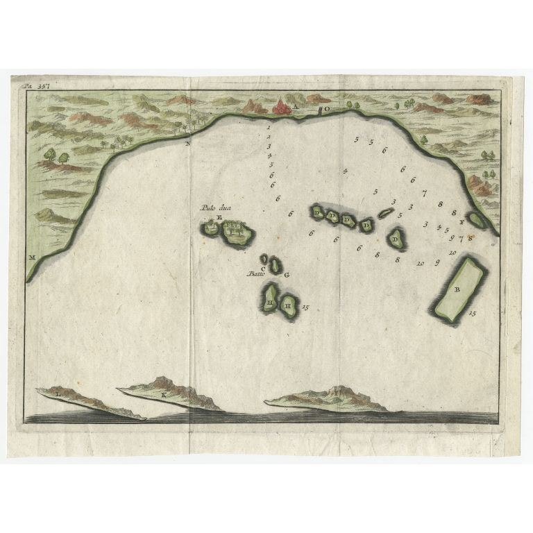 Untitled bird's eye view of the Bay of Bantam (coloured) - Renneville (1725)