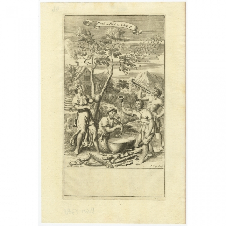 Untitled print 'Musicians and Instruments' - Kip (1694)