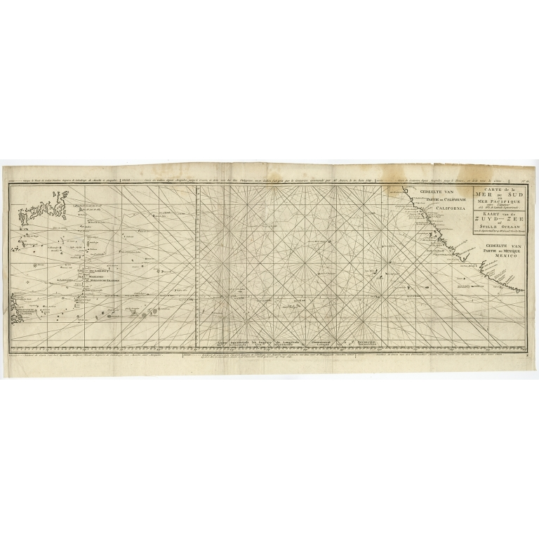 Antique Map of the Pacific Ocean by Anson (1765)