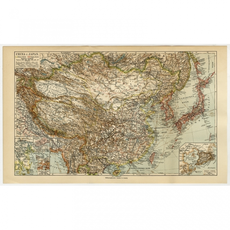 Antique Map of China and Japan by Meyer (c.1895)