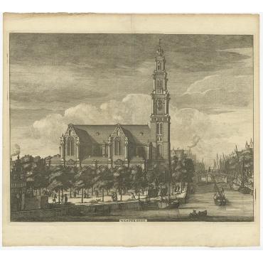Antique Print of the 'Westerkerk' (Amsterdam) - Commelin (c.1765)