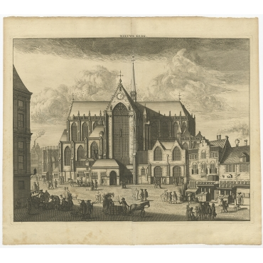 Antique Print of the 'Nieuwe Kerk' (Amsterdam) - Commelin (c.1765)