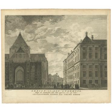 Gezigt op het Stadhuis, langs de noordzijde (..) - Van Liender (1766)