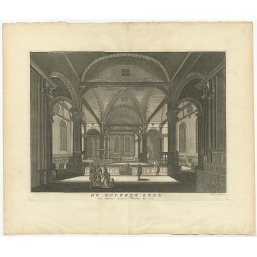 De Noorder Kerk, van binnen, naar 't Noorden te zien - Goeree (1760)