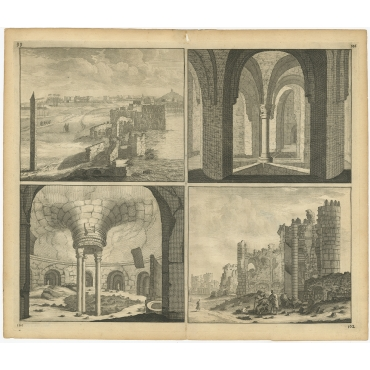 Untitled Print of the ruins of the Palace of Cleopatra (Egypt) - De Bruyn (c.1700)