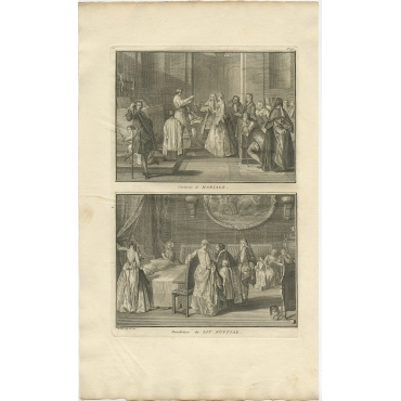 Antique Print of a Wedding Ceremony - Picart (1724)