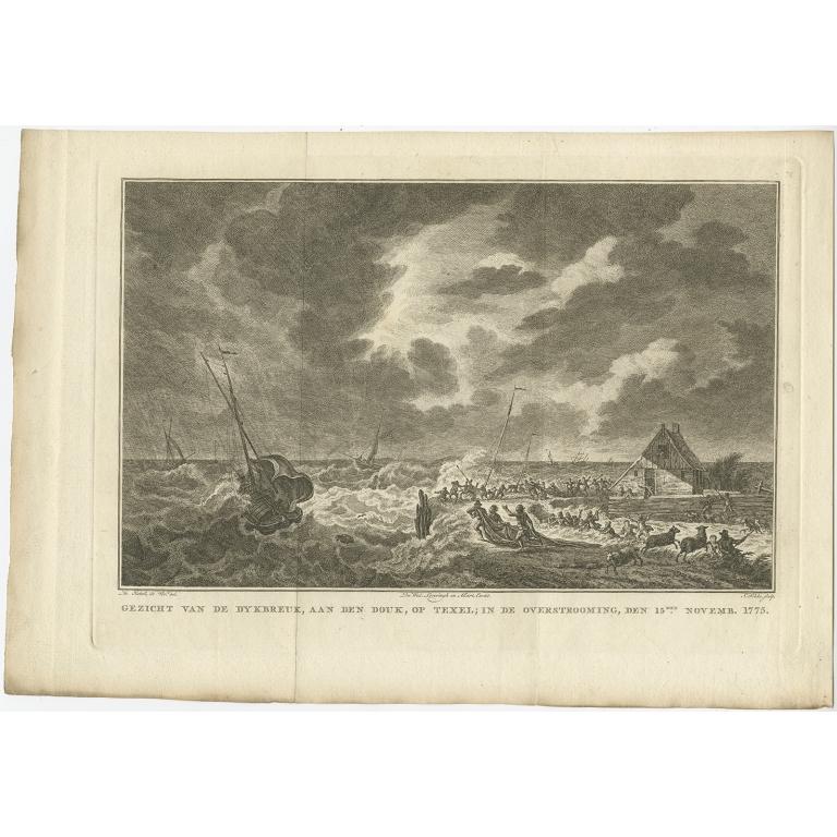 Gezicht van de dykbreuk, aan den douk, op Texel (..) - Fokke (1778)