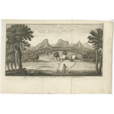 Gezigt van de Plaats op 't Eiland Juan Fernandes (..) - Anson (1749)