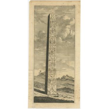 Untitled Print of Obelisk Alexandria - De Bruyn (c.1720)