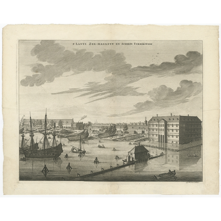 S'Lants Zee-Magazyn en Scheeps Timmerwerf - Commelin (1694)
