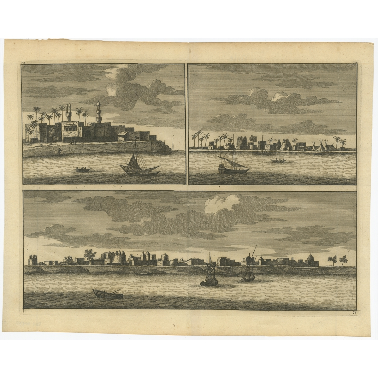 Untitled Print of Villages near the Nile - Anonymous (c.1700)