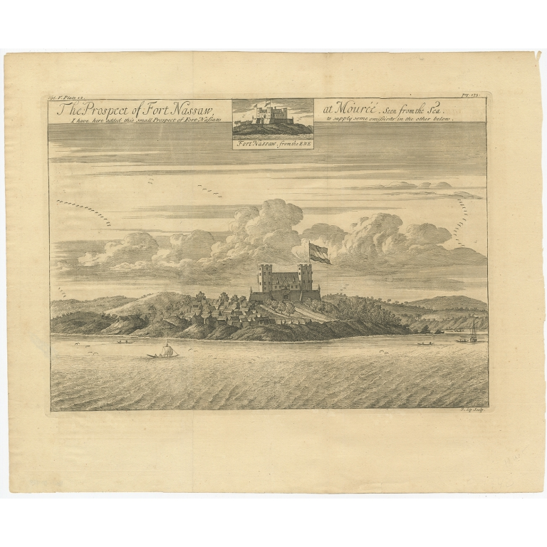 The Prospect of Fort Nassaw at Mouréé (..) - Kip (1732)