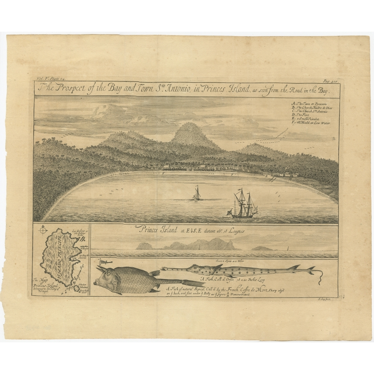 The Prospect of the Bay and Town St.Antonio (..) - Kip (1732)
