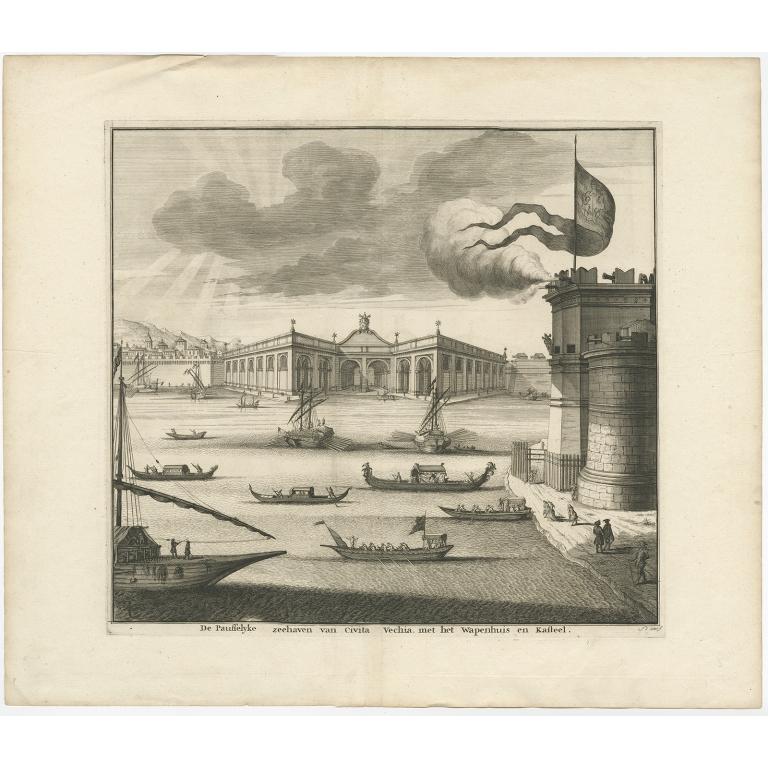 De Pausselijke zeehaven van Civita Vechia met het wapenhuis en kasteel - Halma (1704)