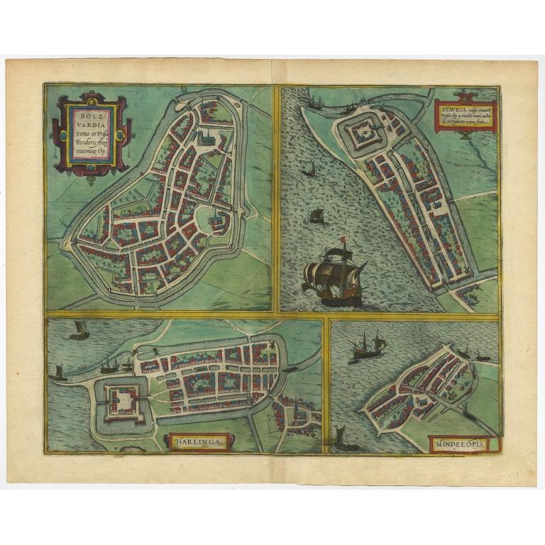 Bolzvardia, Stavria, Harlinga, Hindelopia - Braun & Hogenberg (1599)