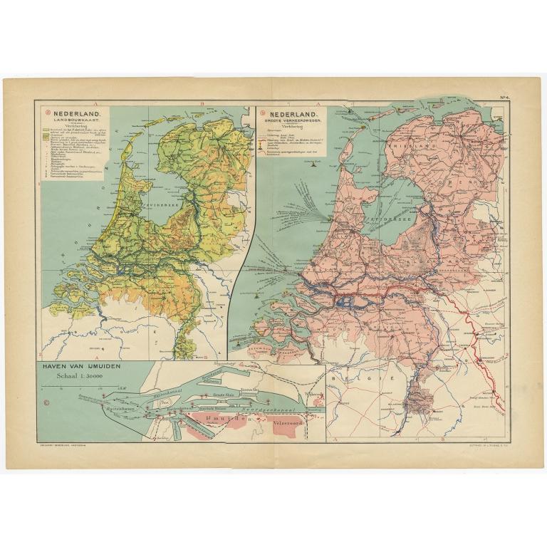 Nederland Landbouwkaart, Nederland Groote Verkeerswegen - Beekman & Schuiling (1927)