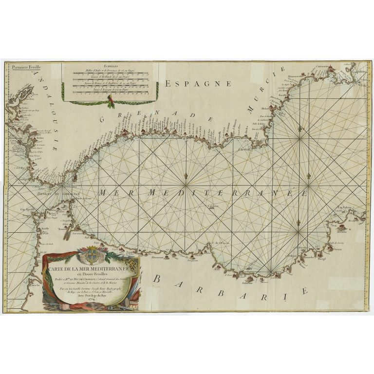 Carte de la Mer Mediterranee en Douze Feuilles - Roux (1772)