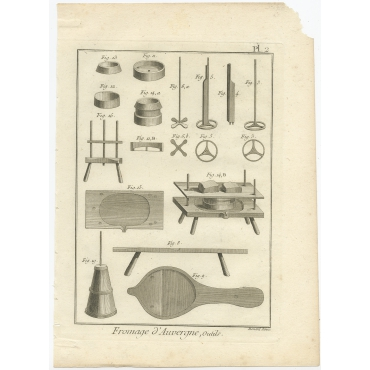 Fromage d'Auvergne, Outils - Diderot (1751)