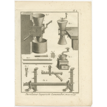 Distillateur Liquoriste Limonadier, moulure du Cafe - Diderot (1751)
