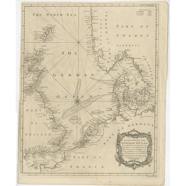 A Correct Chart of the German Ocean (uncolored) - Seale (1746)
