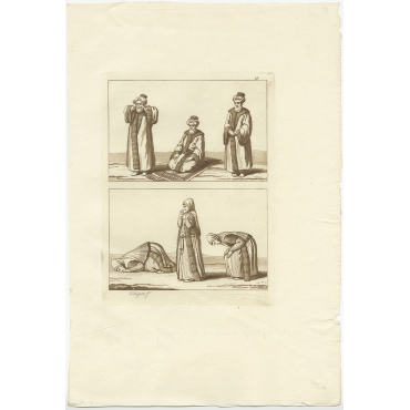 Untitled Print Arab Men and Women praying - Ferrario (1827)